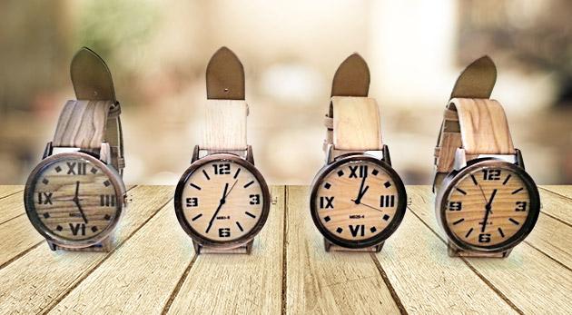 Trendy dámske hodinky s imitáciou dreva