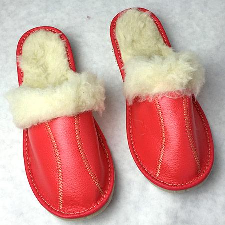 Dámske papuče s ovčou vlnou - vzor 1 - veľkosť 36