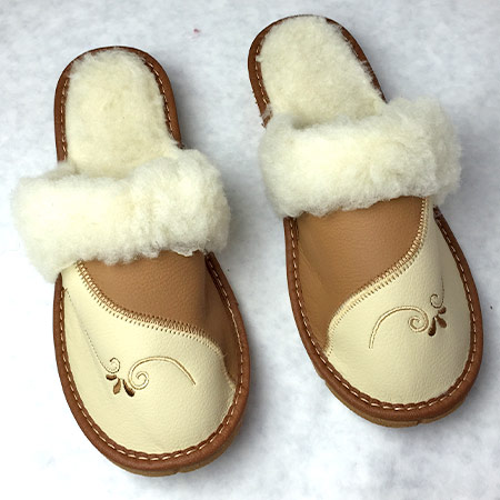 Dámske papuče s ovčou vlnou - vzor 3 - veľkosť 36