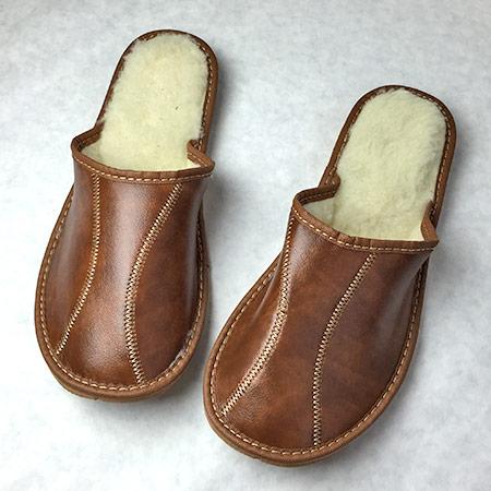 Pánske papuče s ovčou vlnou - vzor 4 - veľkosť 40
