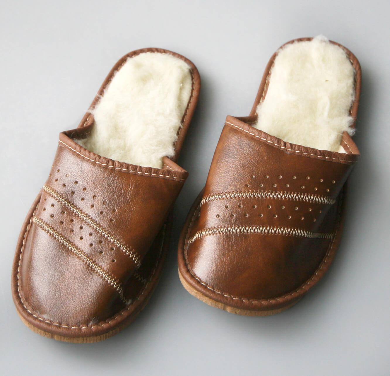 Pánske papuče s ovčou vlnou - vzor 6 - veľkosť 40