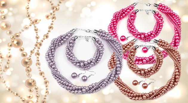 Sada šperkov z voskovaných perál - náhrdelník, náušnice a náramok