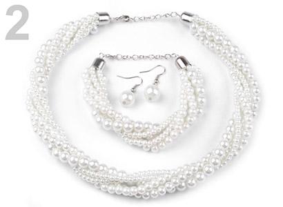 Set voskovaných perál - náhrdelník, náušnice, náramok, farba č. 2: biela mliečna