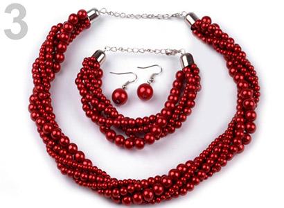 Set voskovaných perál - náhrdelník, náušnice, náramok, farba č. 3: červená