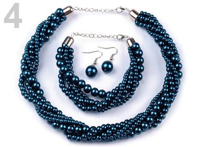 Set voskovaných perál - náhrdelník, náušnice, náramok, farba č. 4: tyrkysová
