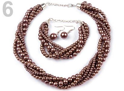 Set voskovaných perál - náhrdelník, náušnice, náramok, farba č. 6: hnedá