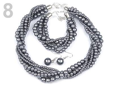 Set voskovaných perál - náhrdelník, náušnice, náramok, farba č. 8: antracit