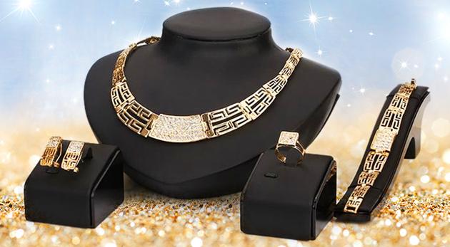 Krásny set šperkov v zlatej farbe - náhrdelník, náramok, prsteň, náušnice