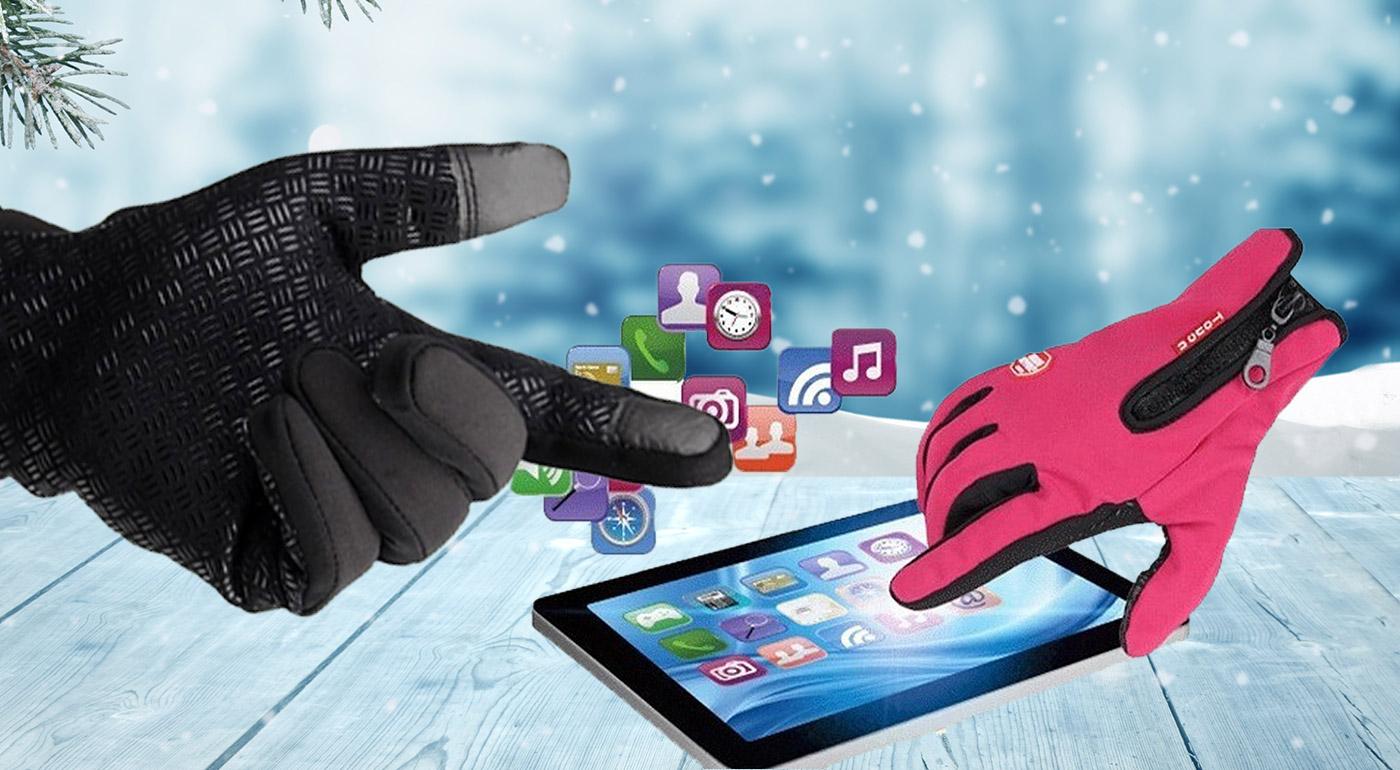 Zateplené zimné rukavice odolné voči vetru a dažďu a s úpravou na dotykové displeje