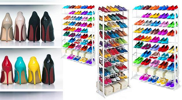 Ultraľahký a prenosný regál na topánky pre uskladnenie až 30-tich párov
