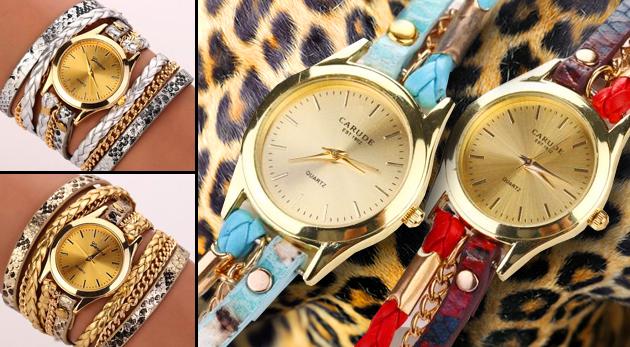 Dámske náramkové hodinky s dvojitou obtáčajúcou sa retiazkou - na výber zo 6 farieb