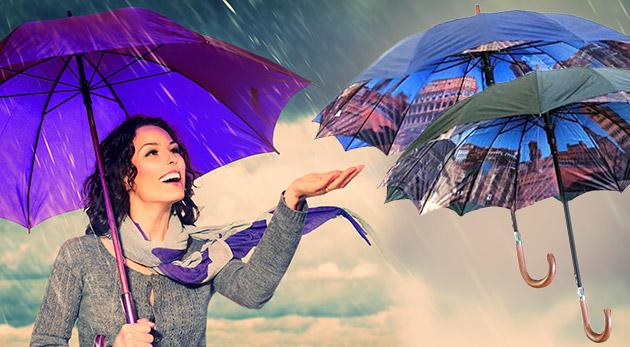 Vetruvzdorný dvojvrstvový dáždnik s vnútornou potlačou