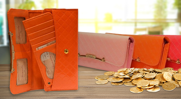 Elegantné dámske peňaženky so zlatou aplikáciou