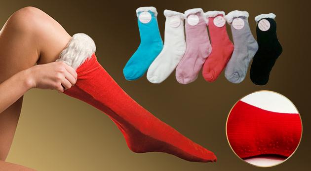 Štýlové dámske protišmykové ponožky na zimu