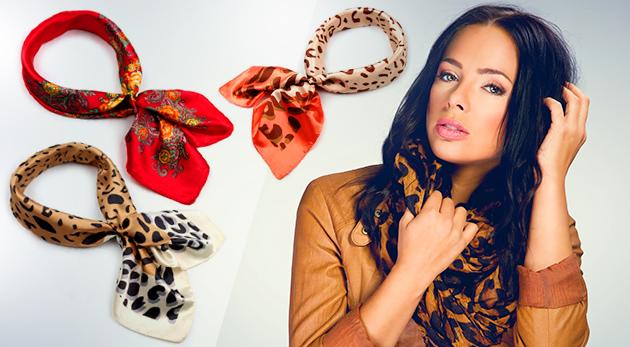 Dámska saténová šatka s motívom kvetov alebo leopardích škvŕn