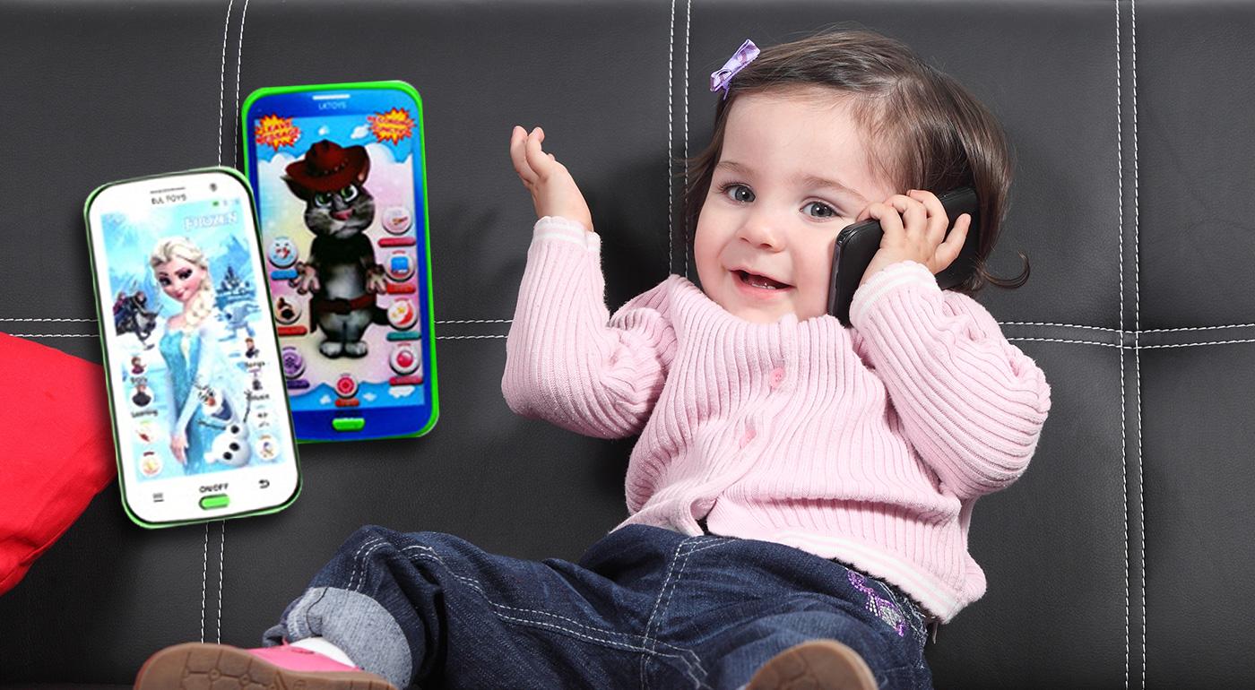 Detský mobilný telefón na hravú výučbu angličtiny Talking Tom alebo Frozen