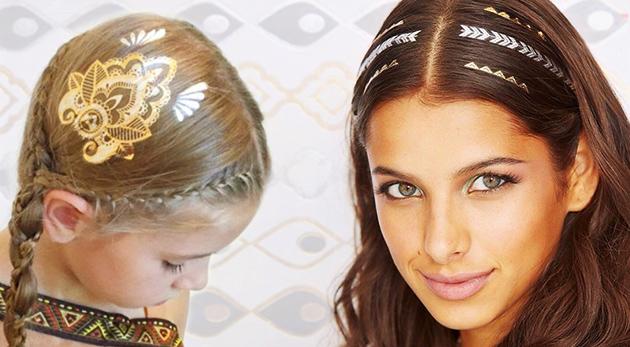 Metalické tetovanie do vlasov - v cene 2 balenia