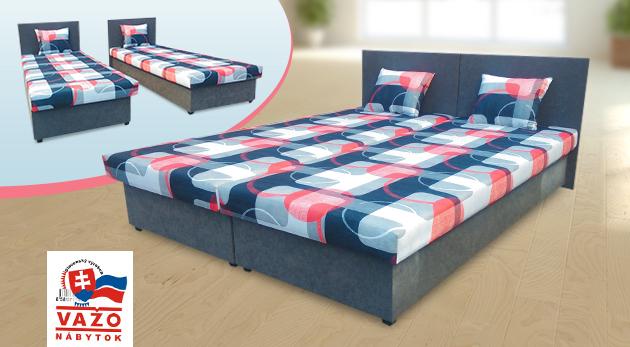 Praktické manželské postele s kvalitným matracom
