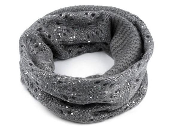 Dámsky pletený nákrčník s flitrami - šedá farba