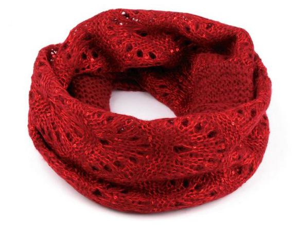 Dámsky pletený nákrčník s flitrami - červená farba