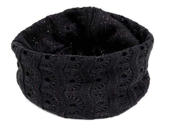 Dámsky pletený nákrčník s lurexom - tmavomodrá farba