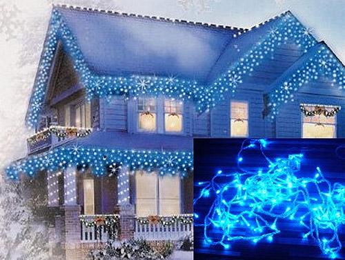 Vianočné ozdobné osvetlenie domu - modrá farba (dĺžka svietiacej časti 6,5 m)