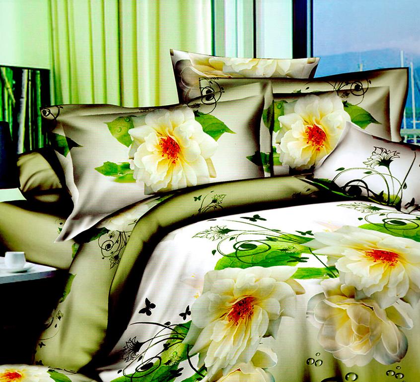 3D posteľné obliečky na jednolôžko - Biele kvety (obliečka na vankúš 70 x 90 cm a obliečka na paplón 140 x 200 cm)
