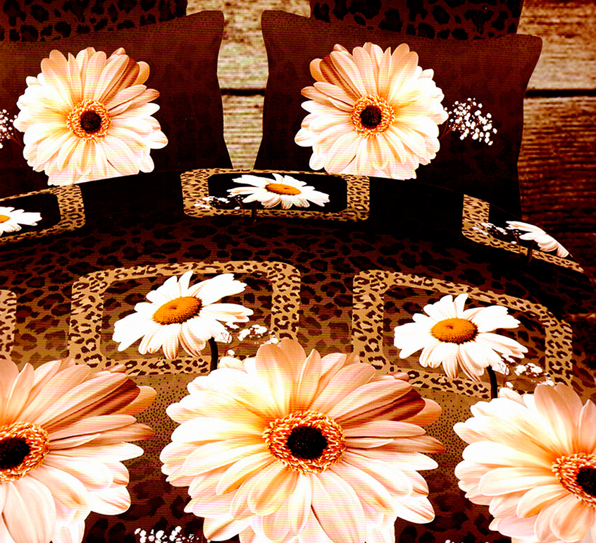 3D posteľné obliečky na jednolôžko - Margaréty (obliečka na vankúš 70 x 90 cm a obliečka na paplón 140 x 200 cm)