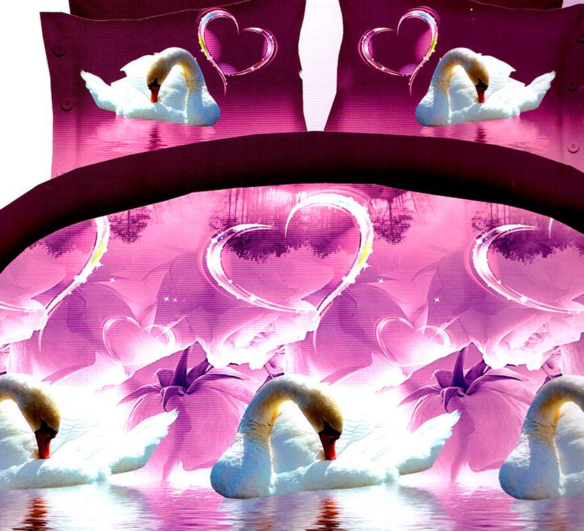 3D posteľné obliečky na jednolôžko - Labude so srdcom (obliečka na vankúš 70 x 90 cm a obliečka na paplón 140 x 200 cm)