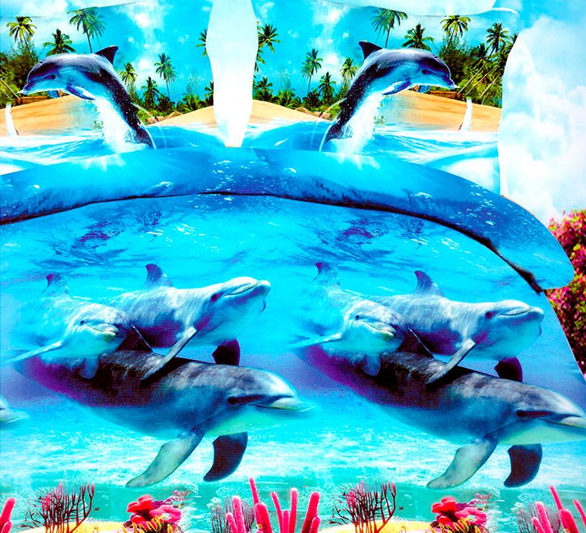3D posteľné obliečky na jednolôžko - Delfíny (obliečka na vankúš 70 x 90 cm a obliečka na paplón 140 x 200 cm)