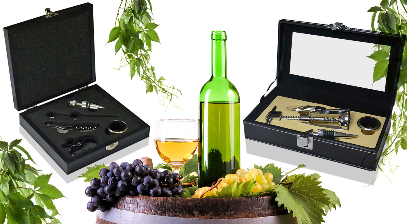Luxusná darčeková krabička s vinárskou súpravou pomôcok