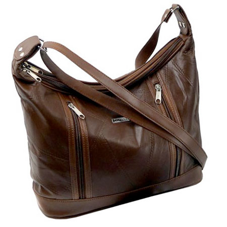 B2. Dámska kožená kabelka GUIDO BANINI - hnedá