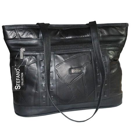 D1. Dámska kožená kabelka GUIDO BANINI - čierna