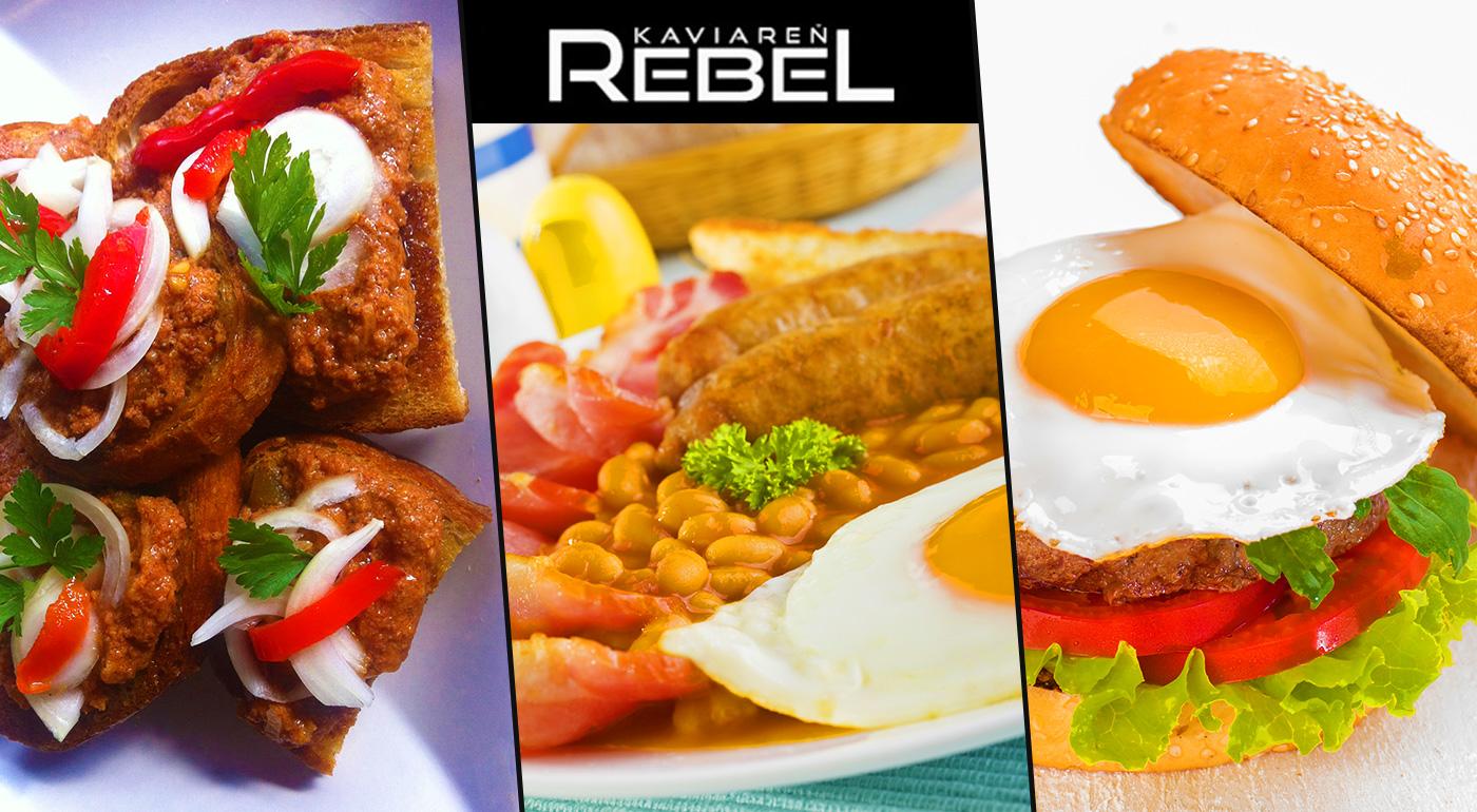 Buďte ako REBEL  a vychutnajte si fantastický hamburger, anglické raňajky alebo diabolskú hrianku za skvelú cenu od profesionálov v Café Rebel