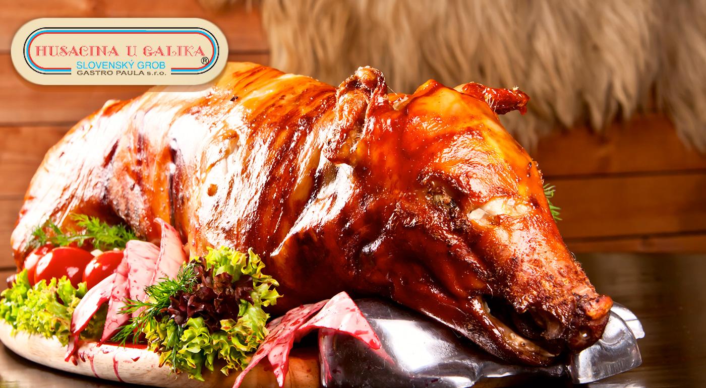 Pečené prasiatko take away pre 10 až 25 osôb s oblohou z reštaurácie Husacina u Galika
