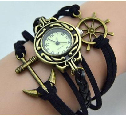 Infinity náramkové hodinky, čierne s kotvou