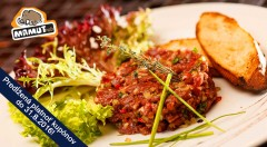 Zľava 42%: Doprajte si gurmánsky zážitok - chutný tatarák s hriankami už od 6,90 € pre 2 alebo 4 osoby v obľúbenom Mamut pube v centre Bratislavy!