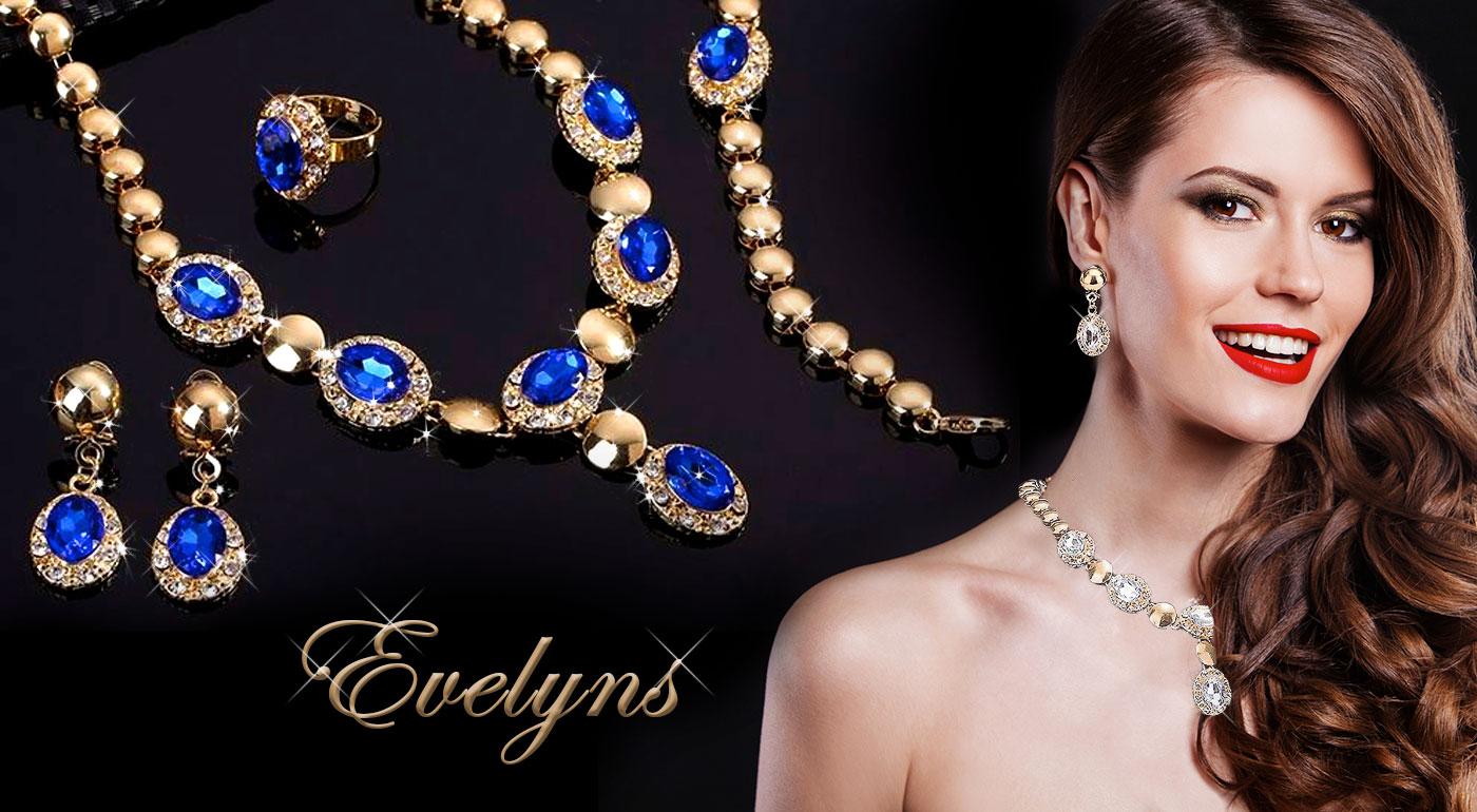 Set luxusných šperkov, s ktorými zažiarite! Náhrdelník, náušnice, náramok a prsteň v 4 kráľovských farbách!