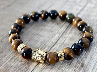 Buddha náramok - zlaté prevedenie – tigrie oko