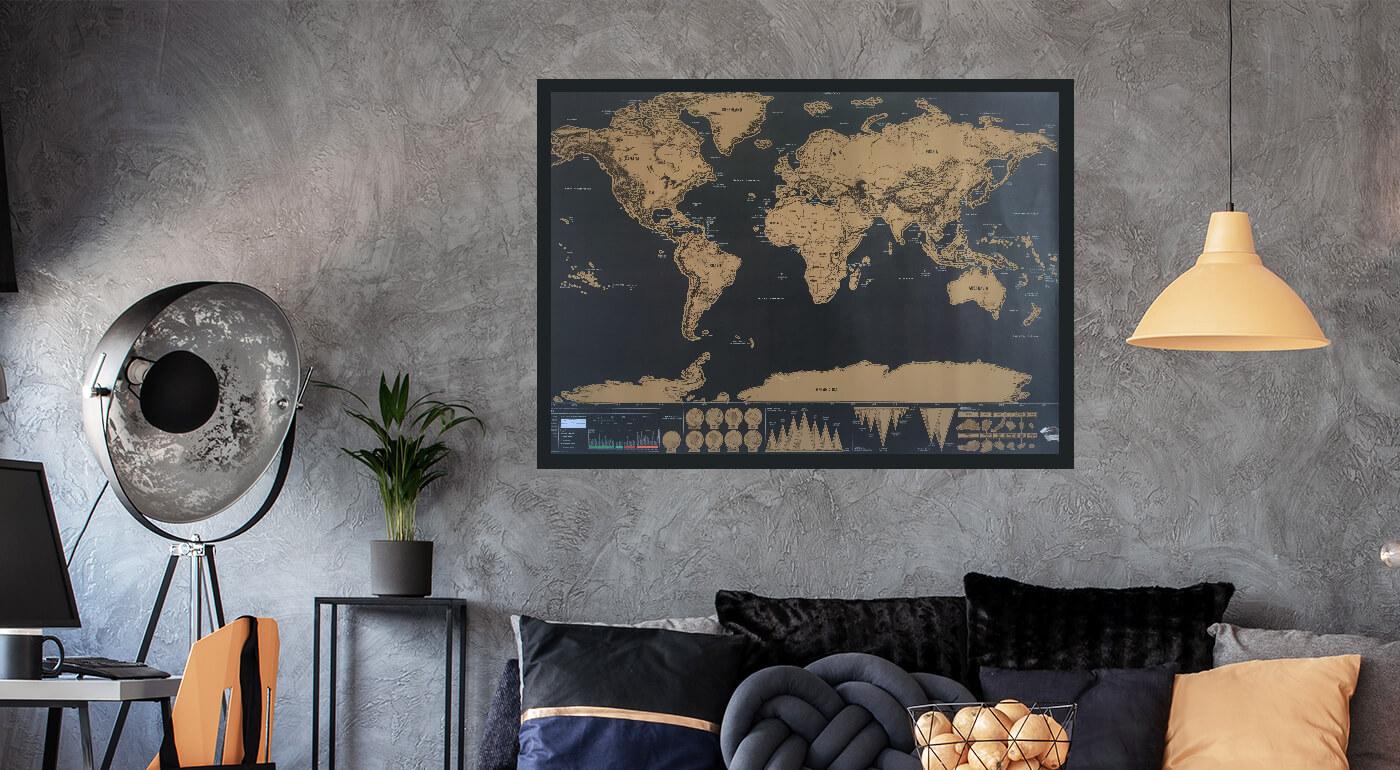 Cestovateľská stieracia mapa sveta Deluxe XL edícia - originálny darček pre každého dobrodruha