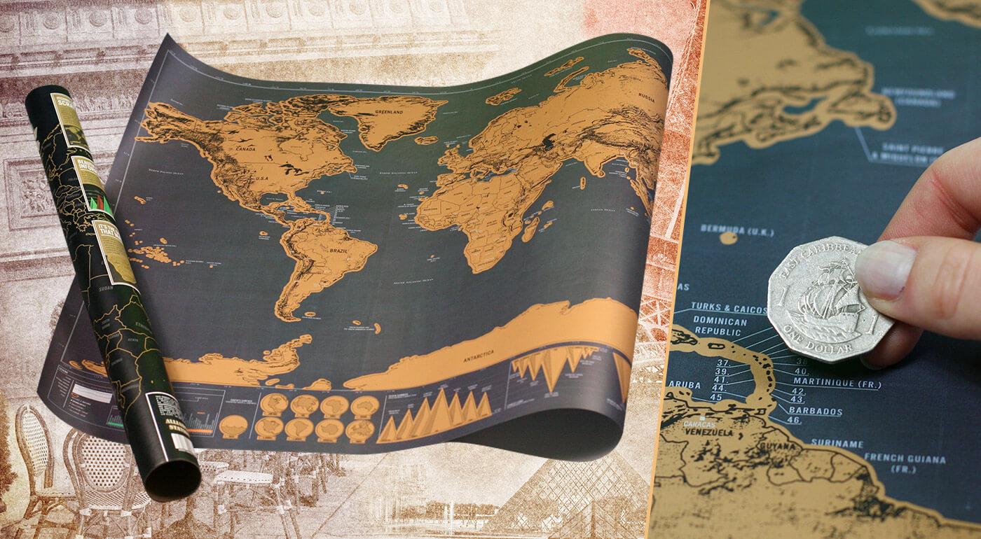 Cestovateľská stieracia mapa sveta Deluxe edícia - originálny darček pre každého dobrodruha