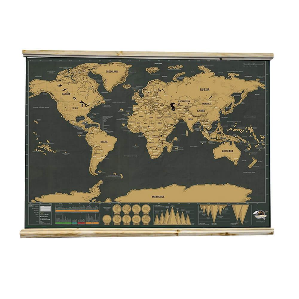 Lišty na zavesenie mapy s háčikom - prírodné drevo s profilom