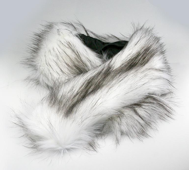 Golier z umelej kožušiny bez zapínania s vnútorným uškom - bielo-hnedý