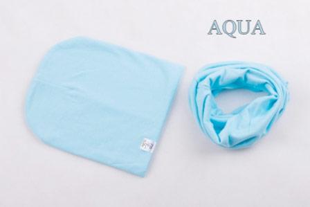 Set: čiapka a nákrčník pre deti a tínedžerov - aqua