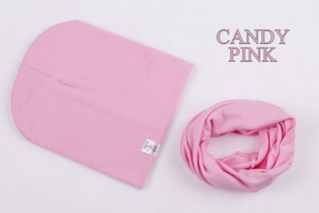 Set: čiapka a nákrčník pre deti a tínedžerov - candy pink