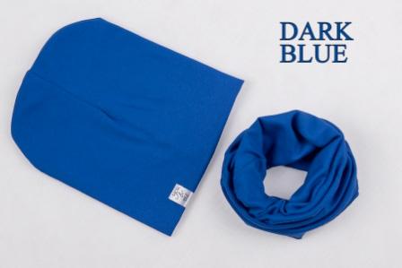 Set: čiapka a nákrčník pre deti a tínedžerov - dark blue