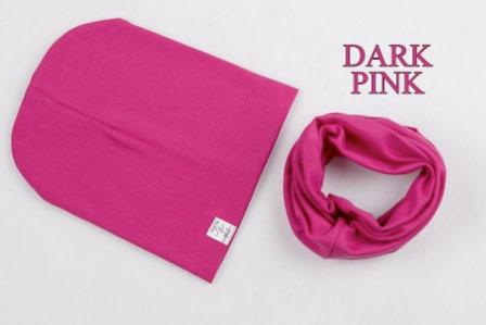 Set: čiapka a nákrčník pre deti a tínedžerov - dark pink