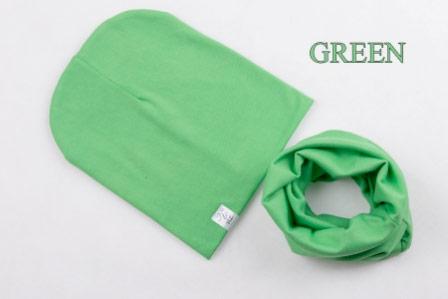 Set: čiapka a nákrčník pre deti a tínedžerov - green