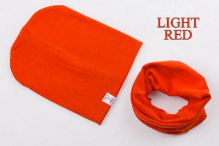 Set: čiapka a nákrčník pre deti a tínedžerov - light red