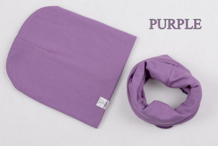 Set: čiapka a nákrčník pre deti a tínedžerov - purple